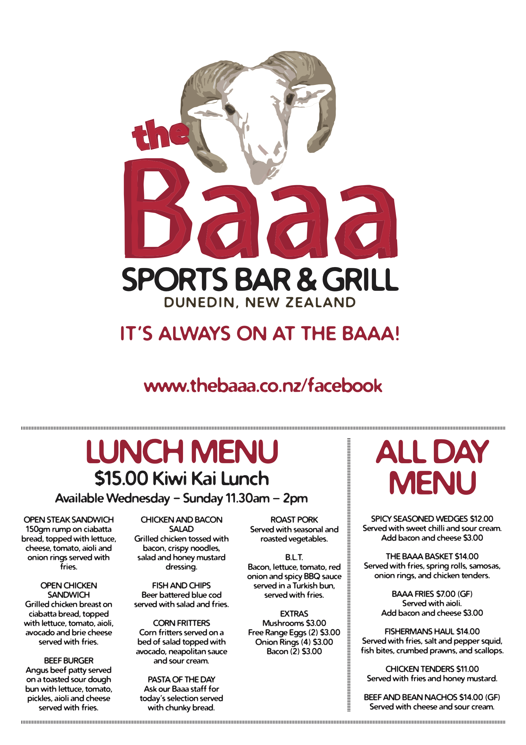 Lunch Menu 2019, The Baaa Sports Bar and Grill, 746 Great King Street, Dunedin 03 477 7718
