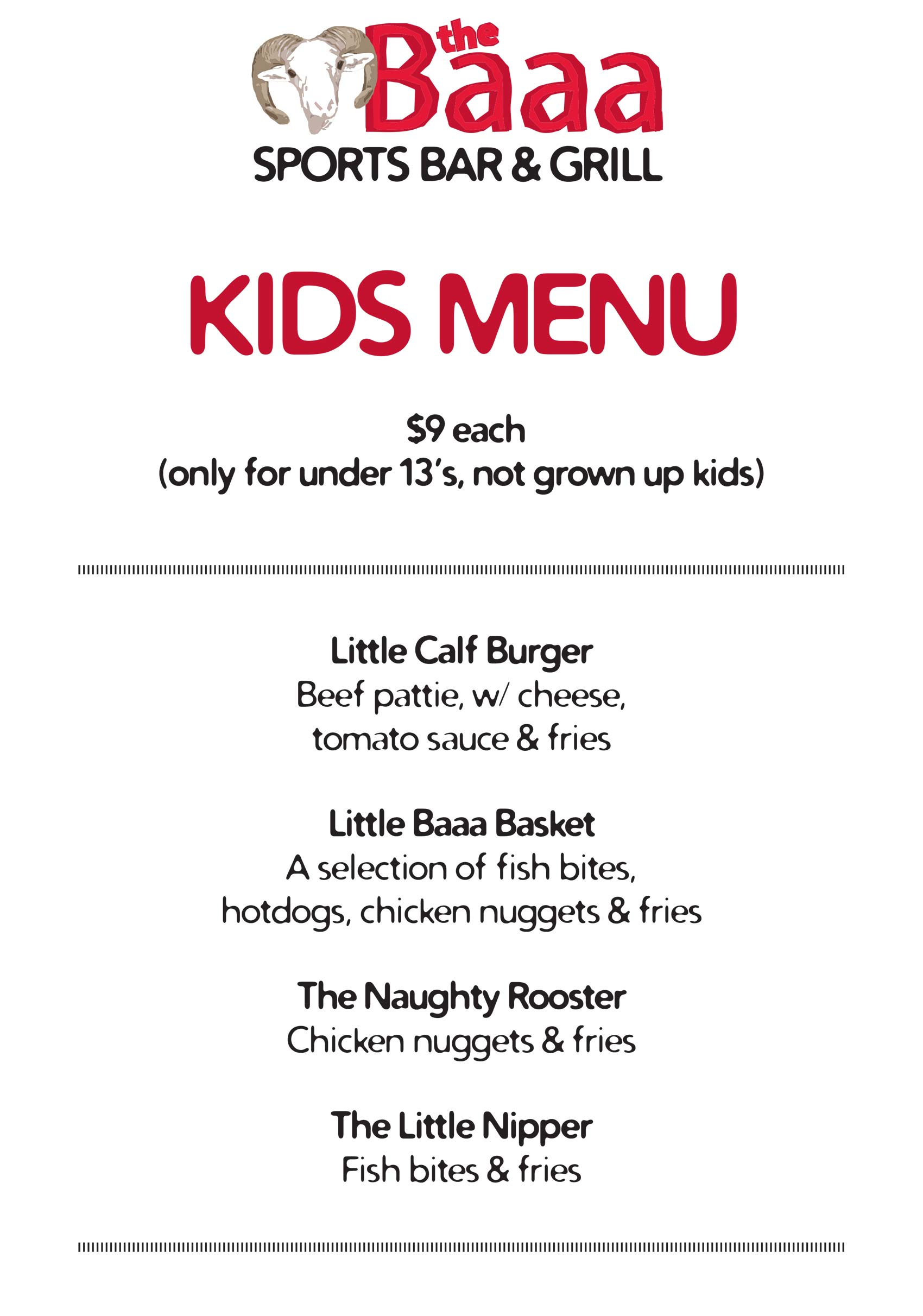 Kids Menu 2020, The Baaa Sports Bar and Grill, 746 Great King Street, Dunedin 03 477 7718